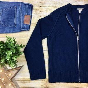 J. Crew Cozy Collarless Crochet Sweater Jacket